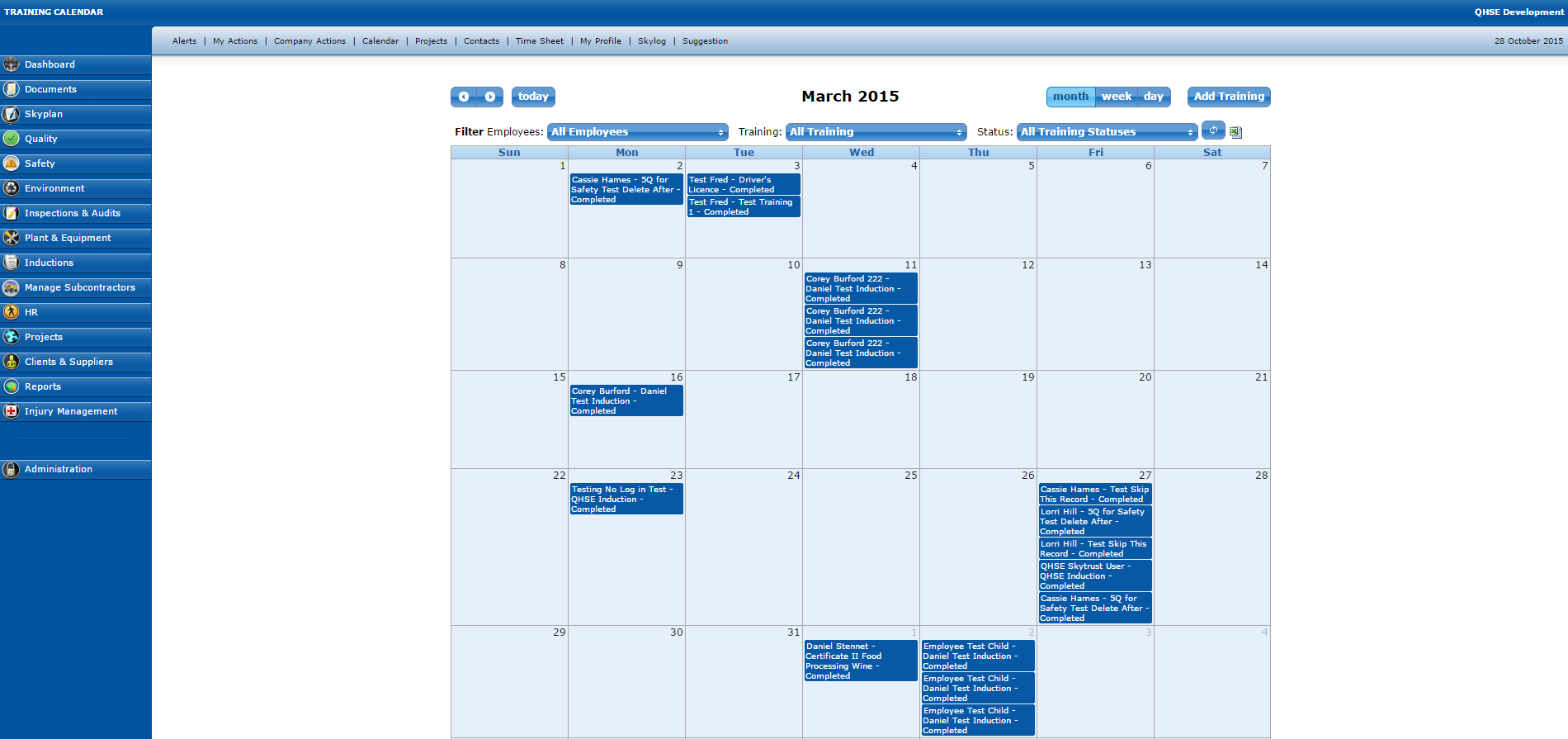 Training Calender and Training Scheduler